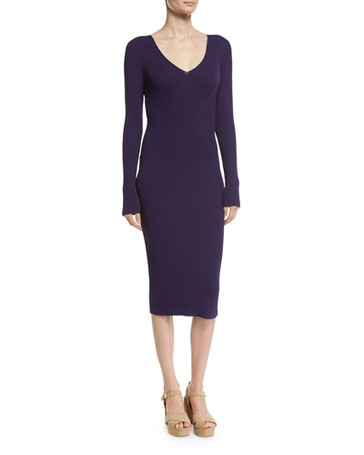 MICHAEL Michael Kors V - Neck Rib - Knit Midi Sweater Dress