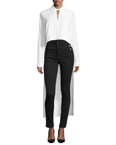 High-Low Long-Sleeve Poplin Shirt, White