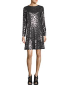 Long-Sleeve Leopard Foil Flounce Dress