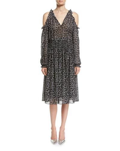 Leopard-Print Cold-Shoulder Chiffon Dress
