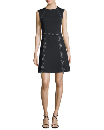 Sleeveless Pyramid Stud Zip-Trim Dress
