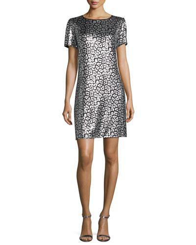 Short-Sleeve Sequined Tulle Shift Dress