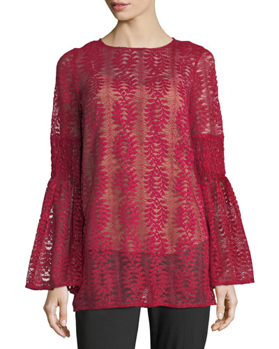 Long Bell-Sleeve Lace Tunic
