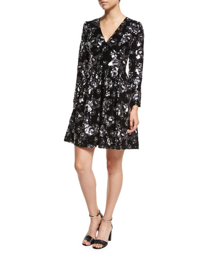 Long-Sleeve V-Neck Floral-Sequin Dress