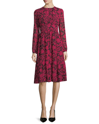 Long-Sleeve Garden-Print Tiered Dress