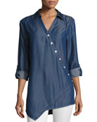 Long-Sleeve Denim Asymmetric Button Shirt, Plus Size