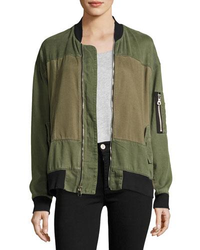 Gene Oversized Utility Bomber Jacket, Green Pattern