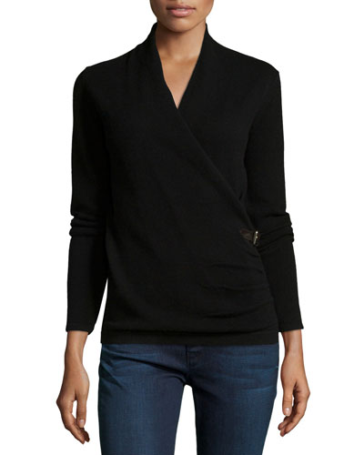 Cashmere Belted Faux-Wrap Sweater, Black
