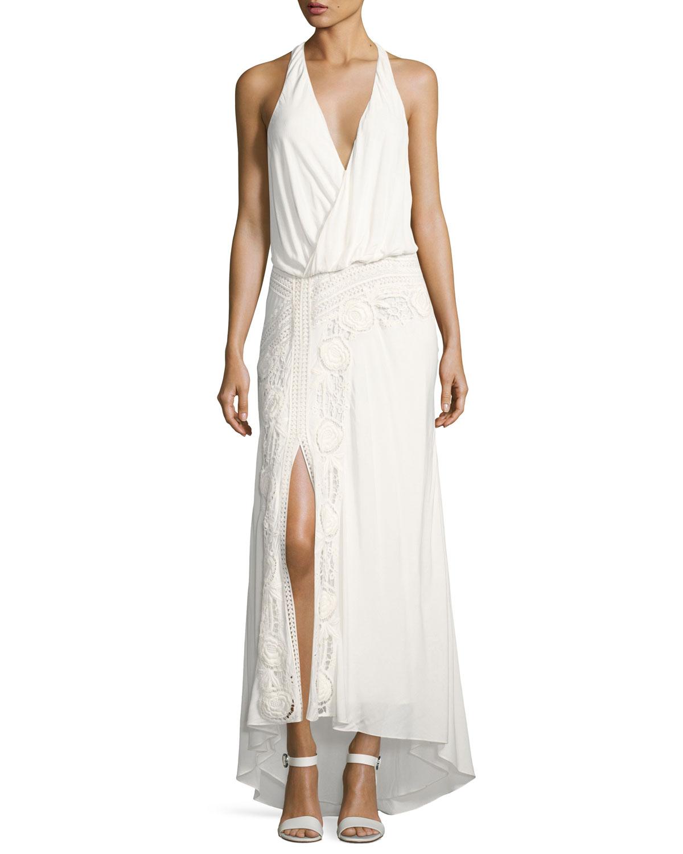 Lux Sleeveless Halter Crochet Maxi Dress, White