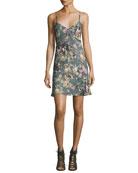Chain Cami Silk Slip Dress, Multi