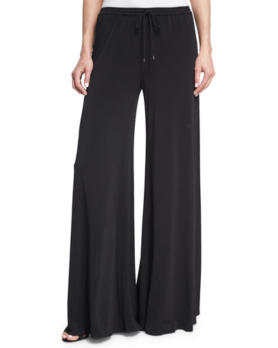 Breeze Drawstring Split-Leg Pants, Black