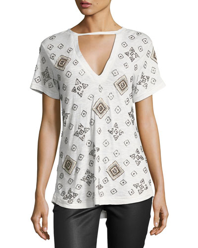 The Rebel Embellished Tee, Gray