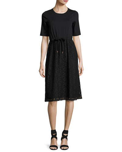 Drawstring Lace-Skirt T-Shirt Dress, Black