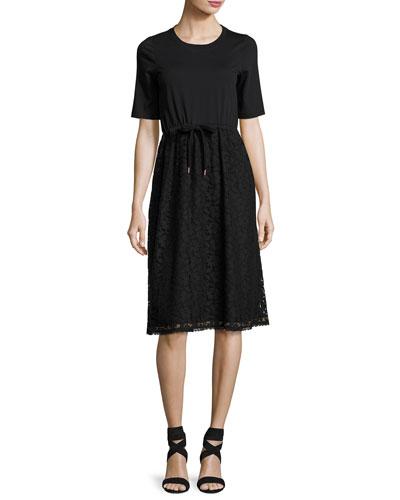 Drawstring Lace-Skirt T-Shirt Dress, Black
