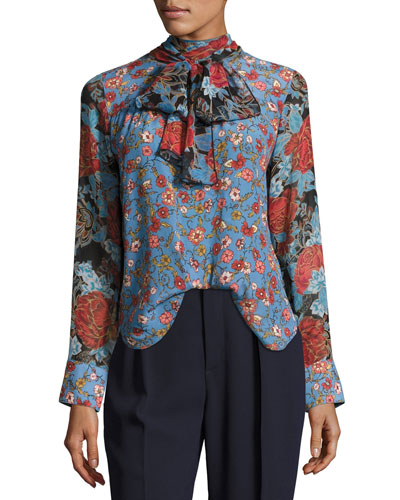 Floral-Printed Silk Top, Blue