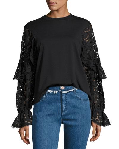 Lace Long-Sleeve Cotton Top, Black