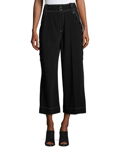 Culotte Pants W/ Button Detail, Black