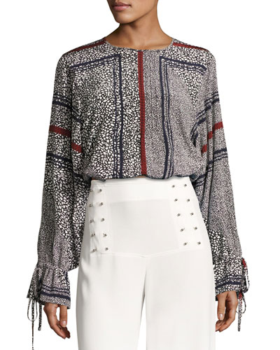 Bell-Sleeve Pintuck Blouse, Black Multi