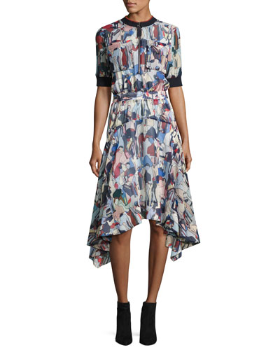 Printed 1/2-Sleeve Handkerchief Dress