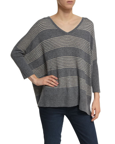 Dolman-Sleeve Lurex-Striped Cashmere Sweater