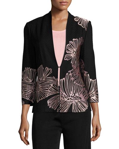 Petal Pop Jacket, Black/Pink, Plus Size