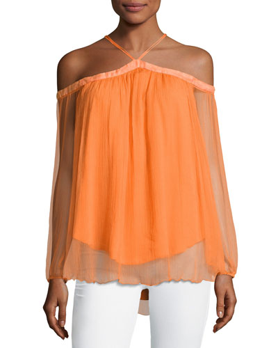 Portezuleo Off-the-Shoulder Chiffon Top, Orange