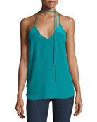 Amanda Uprichard V-Neck Choker Tank Top, Green
