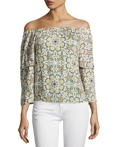 Minori Mosaic Off-the-Shoulder Top, Neutral Pattern