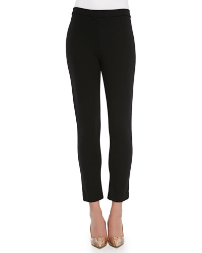 Ponte Slim Ankle Pants, Black, Plus Size