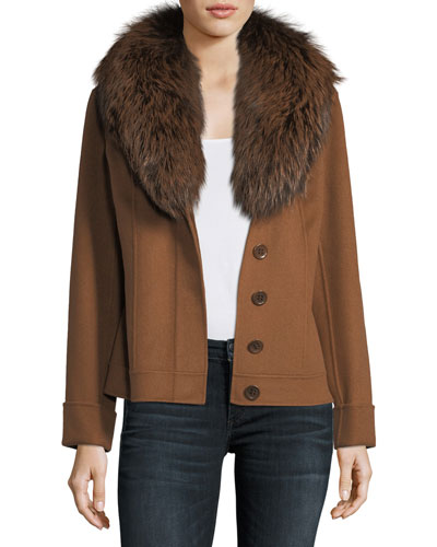 Double-Face Cashmere Short Jacket w/ Fox Fur Collar