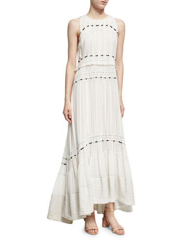 Pintuck Sleeveless Silk Gown Dress W/ Ties, White