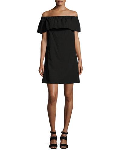 Off-the-Shoulder Mini Dress, Black