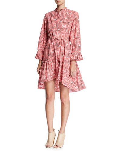 Billie Cotton Long-Sleeve Mini Dress, Red
