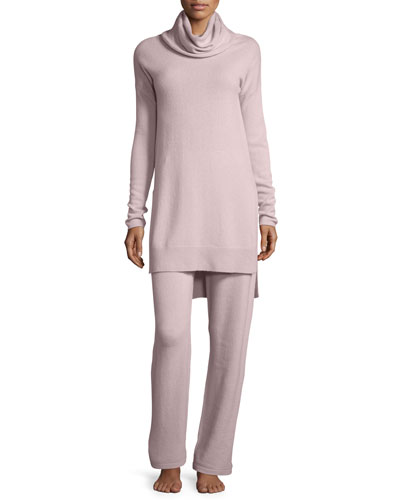 Cashmere Cowl-Neck Sweater & Pant Lounge Set, Quartz