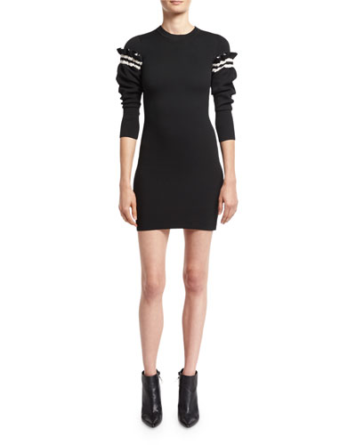3.1 Phillip Lim Sweater Dress W /  Ruffled Sleeve Detail, Black