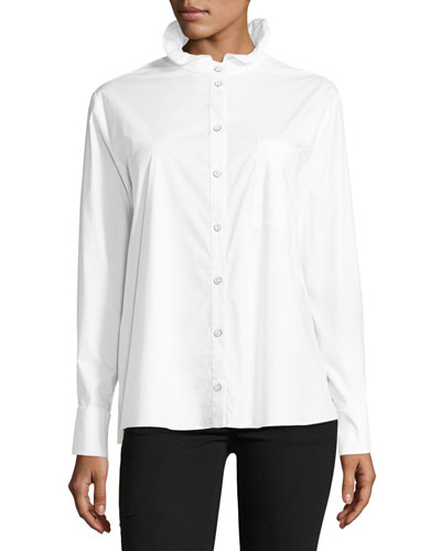 Mika Stand-Collar Button-Front Poplin Shirt