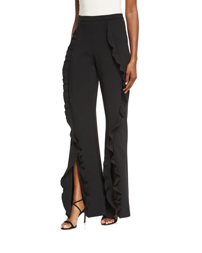 Ivy Ruffle Flared Trousers, Black