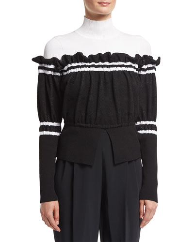 Turtleneck Combo Pullover Sweater W/ Ruffled Trim, Black/White
