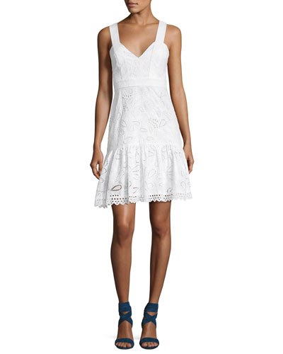 Zita Eyelet Cotton Short Dress, White