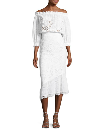 Grace Eyelet Cotton Dress, White