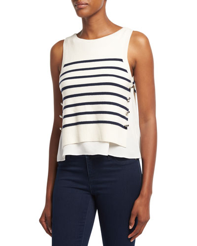 Sailor Striped Tank W/ Silk Underlay, White/Blue