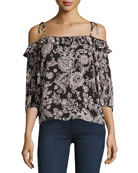 Off-the-Shoulder Floral-Print Blouse, Black
