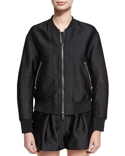 Satin Bomber Jacket W/ Lacing Detail, Black