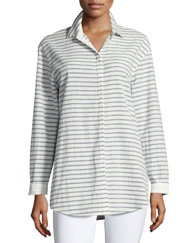 Sabira Long-Sleeve Campina Striped Blouse