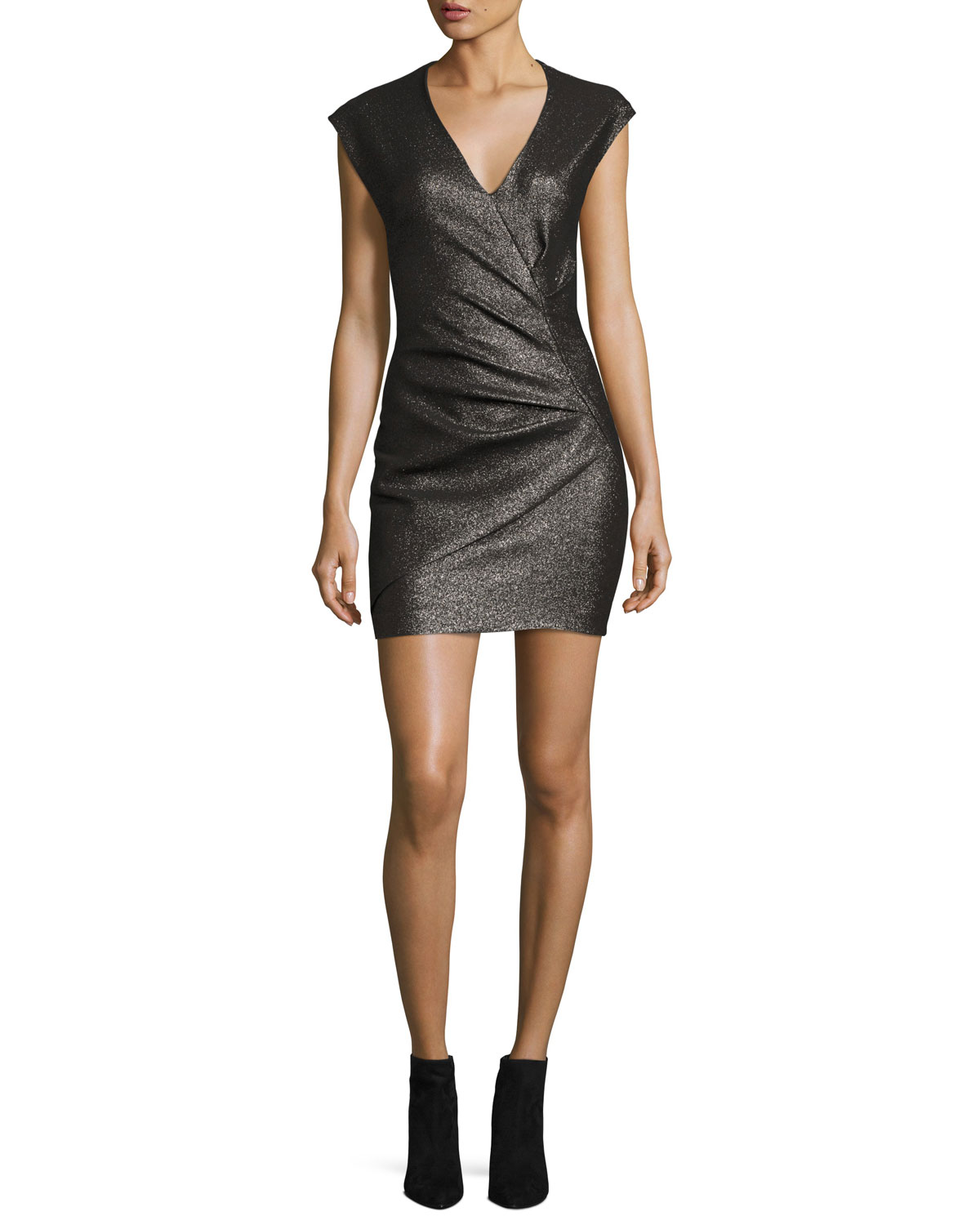 Dresdi Shimmery V-Neck Mini Dress