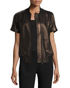 Short-Sleeve Chain-Trimmed Leather Bomber Jacket