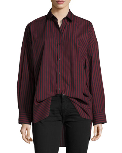 Camille Striped Poplin Top