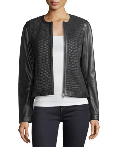 Center-Zip Leather Basketweave Jacket