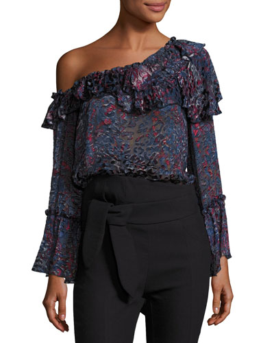 Barrowl One-Shoulder Ruffled Blouse, Blue