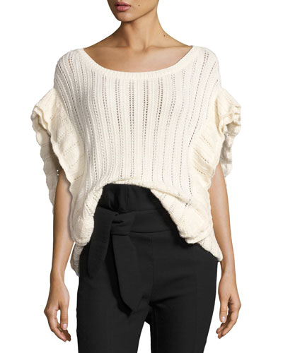 Dafgan Open-Knit Boat-Neck Top, Ecru